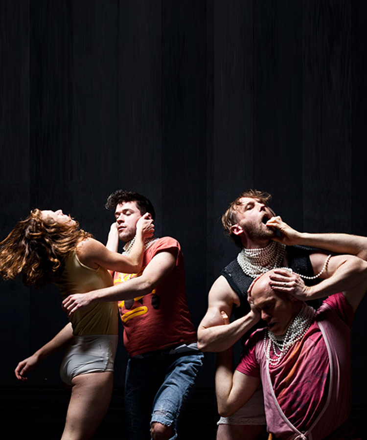 Animale Triste Choreography by Melanie Demers with dancers Brianna Lombardo, Riley Sims, James Gnam, Marc Boivin Photo by ┬®Mathieu Doyon